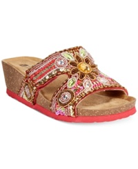 White Mountain Blinker Jeweled Flat Sandals Women's Shoes Red Multi