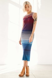Ecote Ombre Sweater Maxi Ringer Dress Red Multi