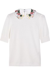 Alice Olivia Remmie Embroidered Crochet Knit Cotton And Cashmere Blend Sweater Off White