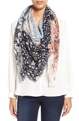 Women's Hinge Faded Print Square Scarf Blue Blue Combo