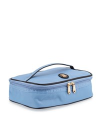 Neiman Marcus Zip Around Nylon Makeup Train Travel Bag Periwinkle