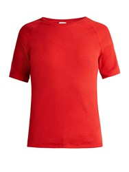 Bliss And Mischief Ribbed Cotton Jersey T Shirt Red