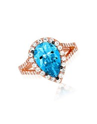Le Vian Blue Topaz White Sapphire And 14K Rose Gold Ring