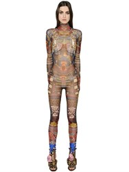 Dsquared Tribal Printed Sheer Stretch Jumpsuit