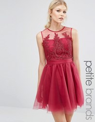 Chi Chi Petite London Embroidered Full Prom Mini Dress With Button Back Detail Dark Fuschia Pink