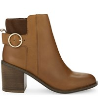 Aldo Rosaldee Leather Heeled Ankle Boots Cognac