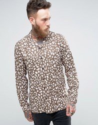 Asos Regular Fit Viscose Shirt With Revere Collar In Khaki Leopard Print Green