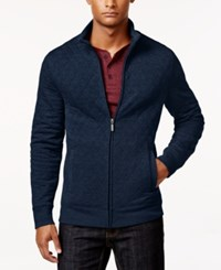 Club Room Men's Big And Tall Quilted Zipper Jacket Only At Macy's Navy Blue