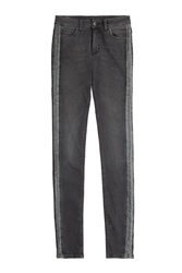 Zadig And Voltaire Skinny Jeans With Metalllic Stripes Grey
