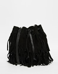 Mango Extreme Fringing Leather Bucket Bag Black