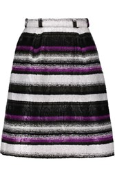 Oscar De La Renta Belted Boucle Mini Skirt Purple