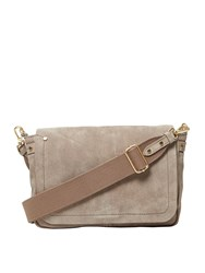 White Stuff Ellis Suede Flapover Crossbody Taupe