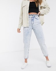 Miss Selfridge Mom Jeans With Frill Top In Light Acid Wash Blue