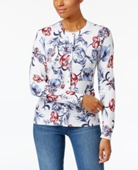 Karen Scott Arctic Artistry Floral Pattern Cardigan Only At Macy's Bright White Combo