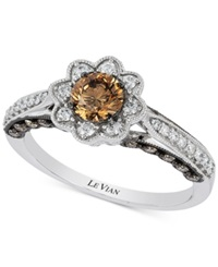 Le Vian Chocolatier Chocolate And White Diamond Flower Ring 7 8 Ct. T.W. In 14K White Gold No Color