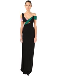 Haider Ackermann Crepe Long Dress W Color Pleated Details Black