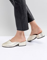 Selected Leather Metallic Mule Gold
