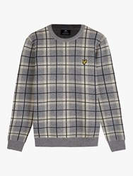 Lyle And Scott Check Lambswool Blend Knitted Jumper Grey Sesame