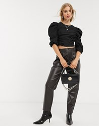 Bershka Ruched Front Poplin Cropped Top In Black