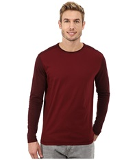 Agave Denim Long Sleeve Vee Streaky Jersey Color Block Cabernet Men's Long Sleeve Pullover Burgundy