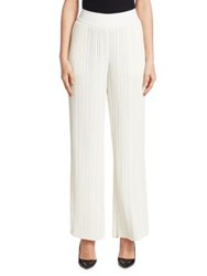 Saks Fifth Avenue Pleated Wide Leg Pants Ivory Black
