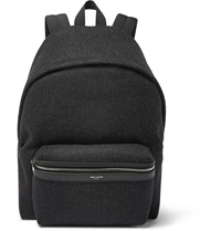 Saint Laurent Leather Trimmed Felt Backpack Gray