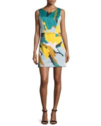Milly Sleeveless Modern Camo Print Dress Multi Colors