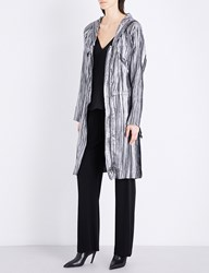 Sharon Wauchob Hooded Silk And Metallic Blend Coat Silver