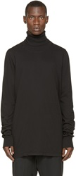 Rick Owens Black Cotton New Turtleneck