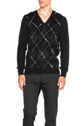 Alexander Mcqueen Criss Cross Embroidery Sweater In Black Checkered And Plaid Black Checkered And Plaid