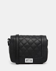 Liquorish Quilted Cross Body Bag Black