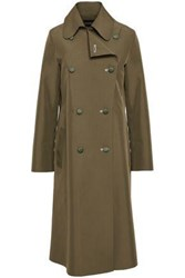 Emporio Armani Woman Double Breasted Shell Trench Coat Army Green