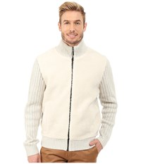 Dkny Long Sleeve Tweed Yarn Full Zip Mock Neck Sweater W Sherpa Front Ivory Men's Sweater White