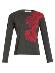 Valentino Palm Leaf Intarsia Cashmere Sweater Grey Multi