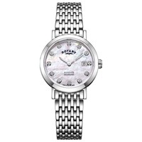 Rotary Lb05300 07 D 'S Windsor Diamond Date Bracelet Strap Watch Silver