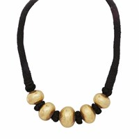 Carousel Jewels Antique Finish Smooth Sphere Necklace Black Gold