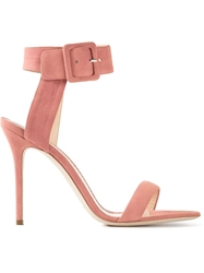 Aperlai Buckled Stiletto Sandals Pink And Purple