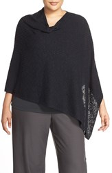 Plus Size Women's Eileen Fisher Organic Linen And Cotton Knit Poncho Black
