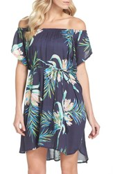 Echo Paradise Palm Off The Shoulder Cover Up Dress Navy