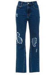 Spacenk Nk Destroyed Mom Jeans Blue