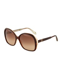 Carolina Herrera Round Plastic Sunglasses Havana Brown Horn