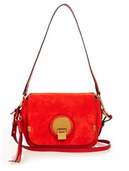 Chloe Indy Small Suede Cross Body Bag Red