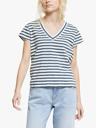 And Or Stripe V Neck T Shirt White Blue