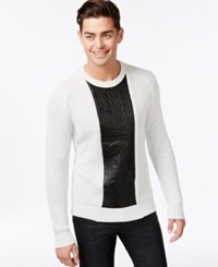Inc International Concepts Crew Neck Faux Leather Cable Knit Sweater Only At Macy's Light Grey Heather