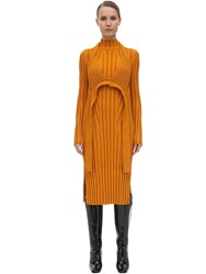 Proenza Schouler Viscose Blend Rib Knit Midi Dress Saffron