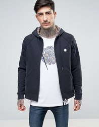 Pretty Green Raynham Hoodie Zipthru Paisley Lined Hood In Black Black