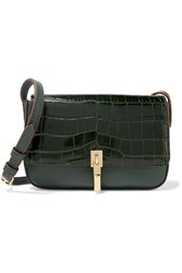 Elizabeth And James Cynnie Micro Croc Effect Leather Shoulder Bag Dark Green