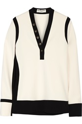 Balenciaga Embellished Two Tone Stretch Crepe Top