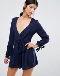 Love And Other Things Tie Wasit Playsuit Navy Blue