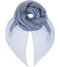 Jane Carr Sheer Fray Cashmere Scarf Sea